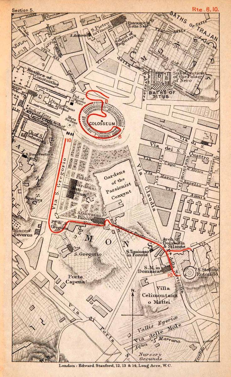 1908 Lithograph Map Plan Rome Italy Colosseum Rotunda Baths Trajan Arch XGJA5