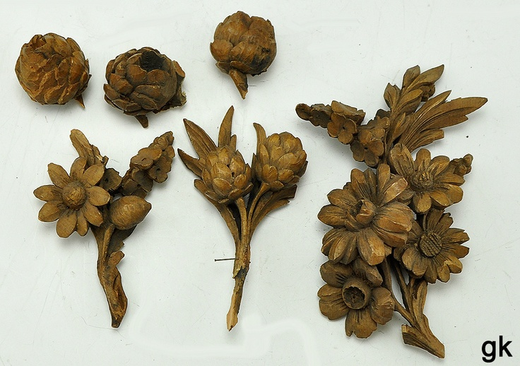 Antique wooden carved flowers and pine cones grinling