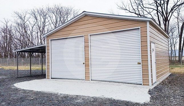 24x30x10 Garage With Lean To Metal Garages Metal Buildings Garage Decor