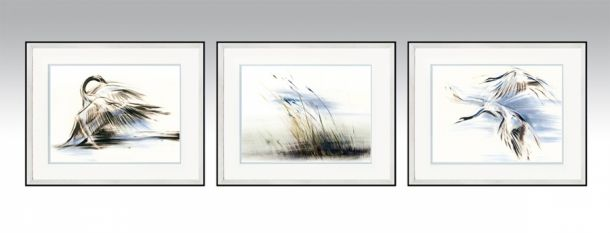 Water Series in a silver frame and light double passe-partout (Option 1).