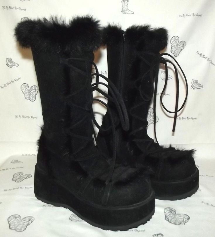 Faux Suede/Rabbit Fur Goth Boots Womens