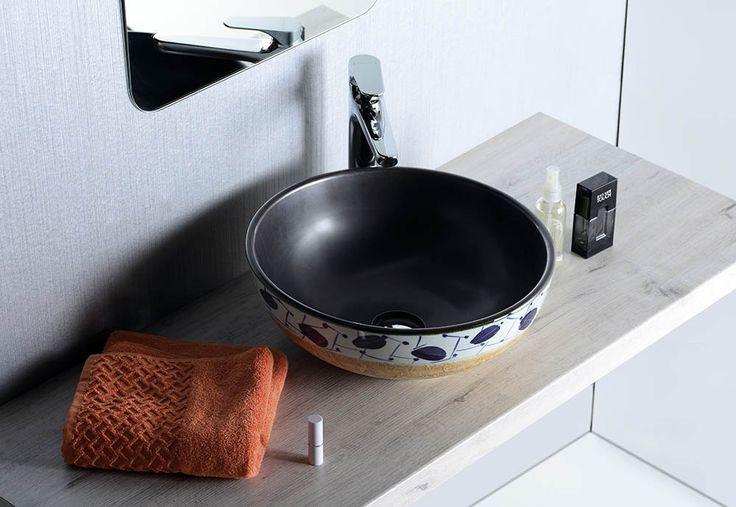 PRIORI keramické umyvadlo, průměr 42cm, 15cm, černá/hnědá a modrý vzor, SAPHO E-shop
