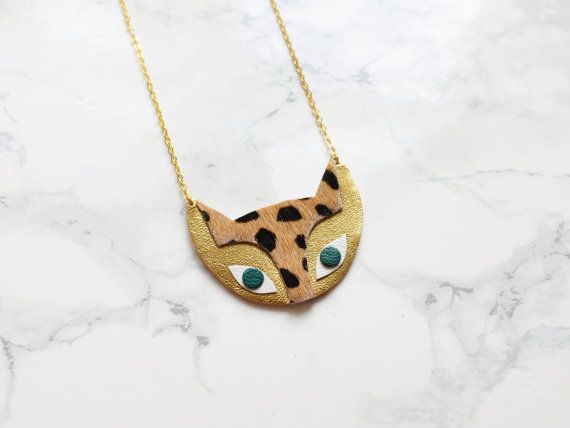Handmade leather cat necklace by BenuMade on Etsy