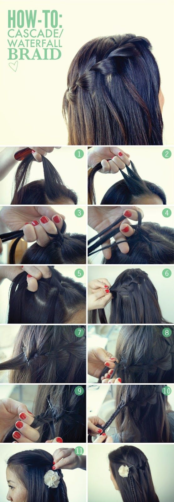 How to do The cascade waterfall braid   tutorial in picture