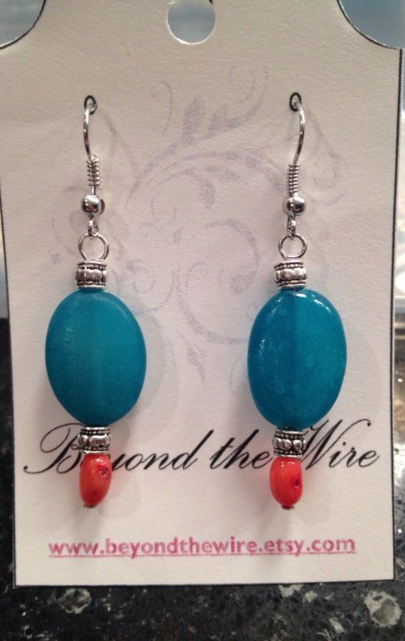 Coral ans Agate Stone Dangle Earrings with Metal by BeyondtheWire