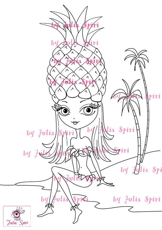 Digital Stamps, Digi stamp, Coloring pages, Girl stamps, Fruity, Pineapple, Scrapbooking. The Fruity Girls Collection. The Pineapple Girl
