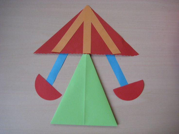 Eenvoudige zweefmolen Schuine vouw en vlieger