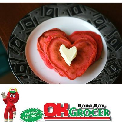 Happy Valentines day! Spoil your loved one today with heart shaped pancakes - get all your ingredients at OK Grocer Danabaai. #love #valentines #pancakes