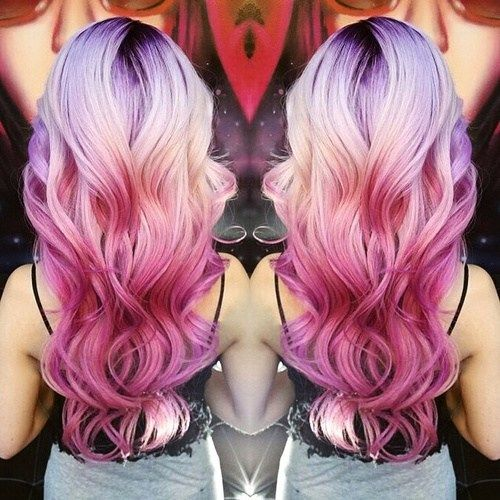 pink+ombre+for+blonde+hair+with+black+roots