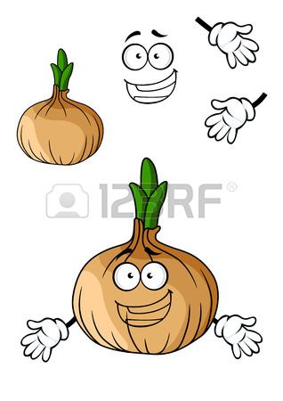 Fun cartoon brown onion vegetable with a big happy toothy smile isolated on white