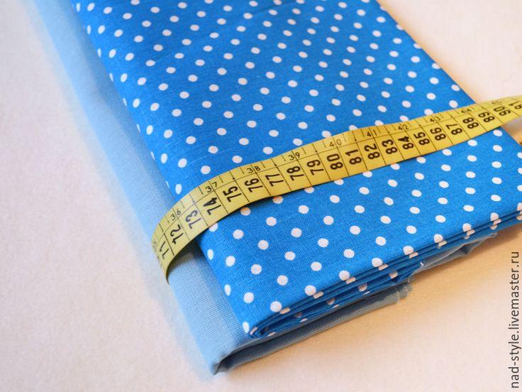 Купить Ткань хлопок. Голубой в белый горох. 150см - голубой, ткань для творчества, ткань для шитья
