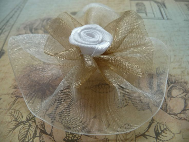 zarte Organzablumen ❀ Blüte ❀ Basteln Schmücken Verzieren Deko ❀ Rose ❀ Shabby