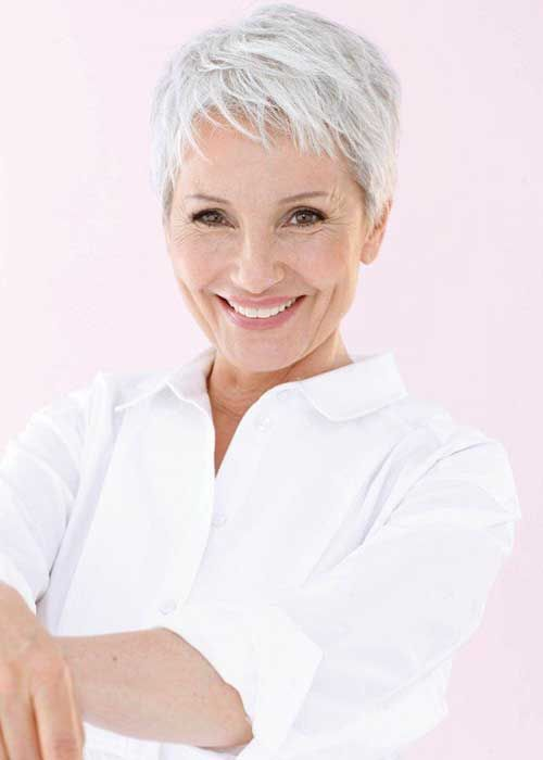 Fine Hair Pixie for Mature Ladies. A great style for grey hair. Good for transitioning to grey as it reduces the time it takes.