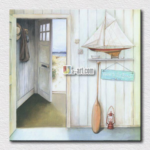 Синее море и белый пляж от двери отпечатки на холсте пейзажной живописи картина для украшения дома