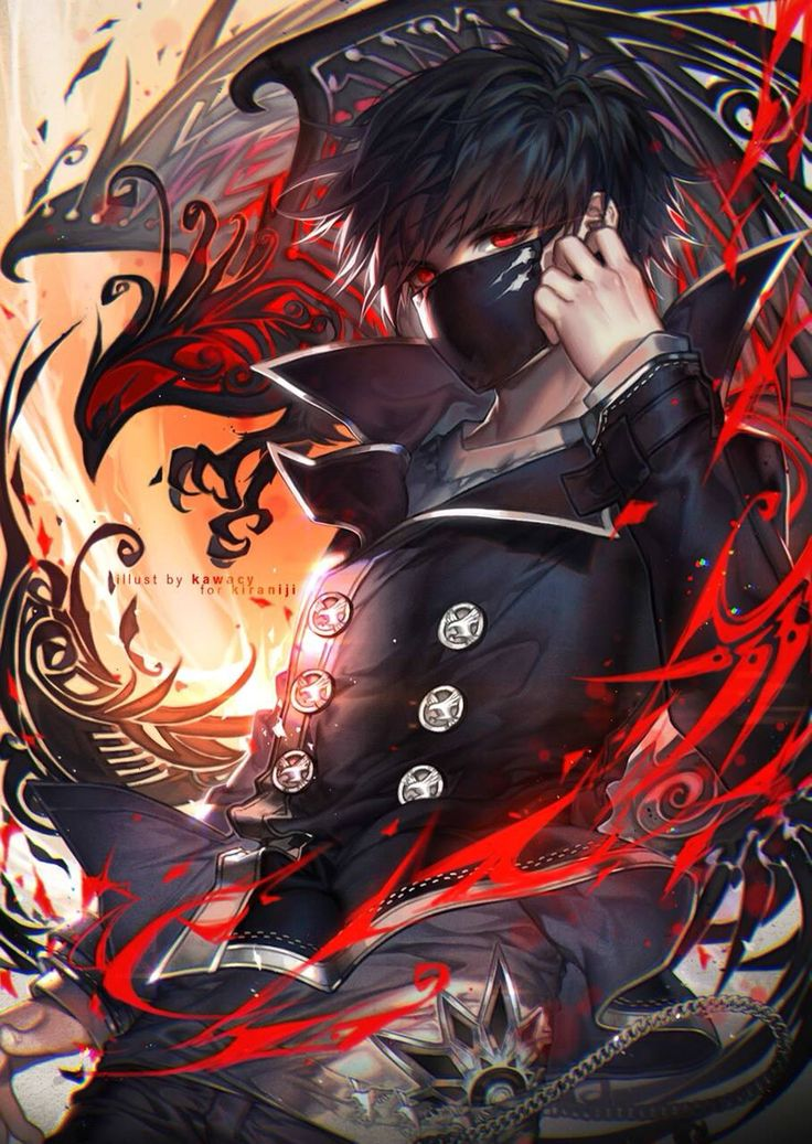 Anime. Anime Guy. Anime Boy. Black Hair. Blood. Gore. Red Eyes. Mask.