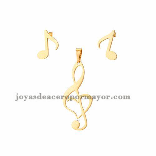 juego dije y aretes de nota musica en acero dorado inoxidable -SSSTG953723