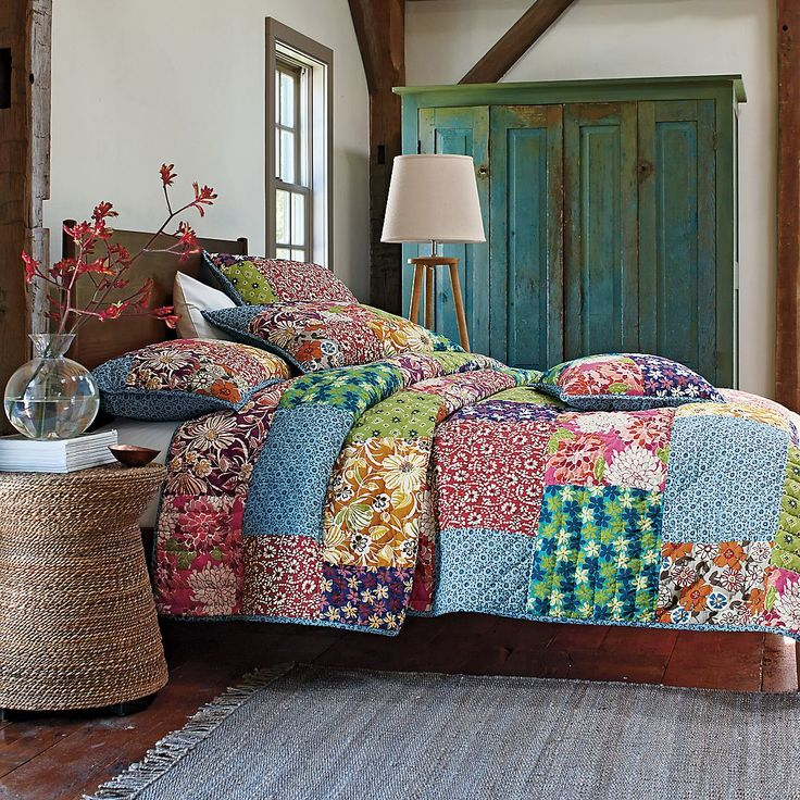 Gorgeously printed Full Bloom Quilt | The Company StoreGuest Room, Quilt Beds Sets, Patchwork Beds Covers, Bloom Quilt, Patchwork Bedrooms, Handmade Patchwork Quilt, Company Stores, Country Bedrooms, Full Bloom