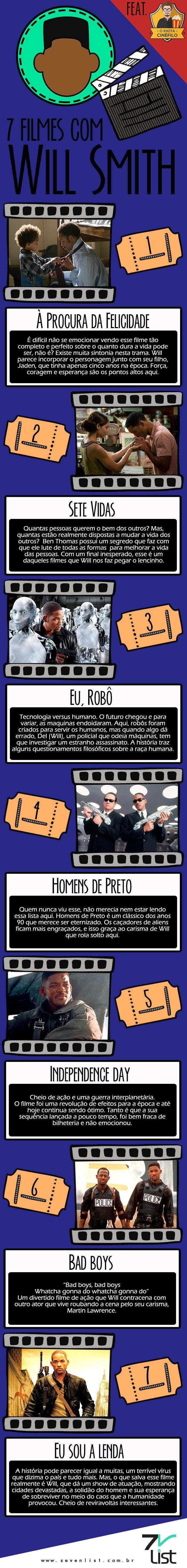 #SevenList #Infográfico #Art #Design #Entretenimento #Movie #Cinema #Filme #Cine #WillSmith