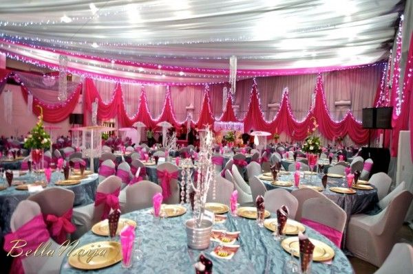 Hot Pink Edo Wedding Reception at Flamingo Hall, Homeville Hotel, Benin, Edo State, Nigeria. Wow, at the deco! From BellaNaija.