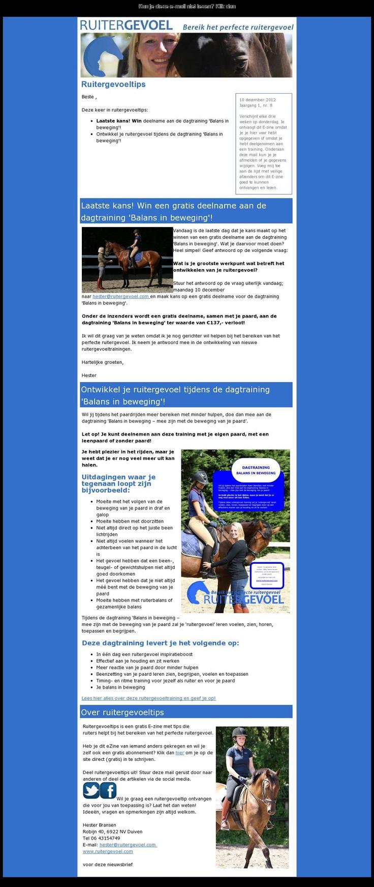 Nieuwsbrief van Ruitergevoel (bereik het perfecte ruitergevoel) http:www.ruitergevoeg.nl