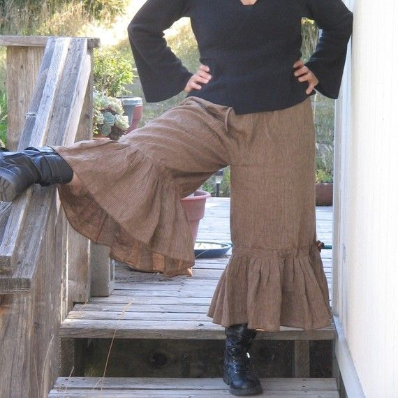 plus size steam punk pants $82 - like the ruffle around the ankles,  would be easy to alter a pair of store bought pants