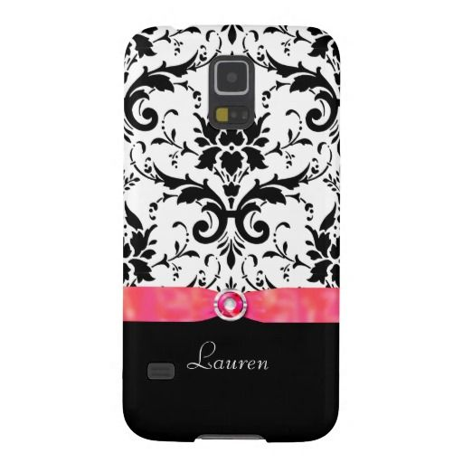 Black Damask Coral Red Jewel Samsung Galaxy S5 Case by Mega Case