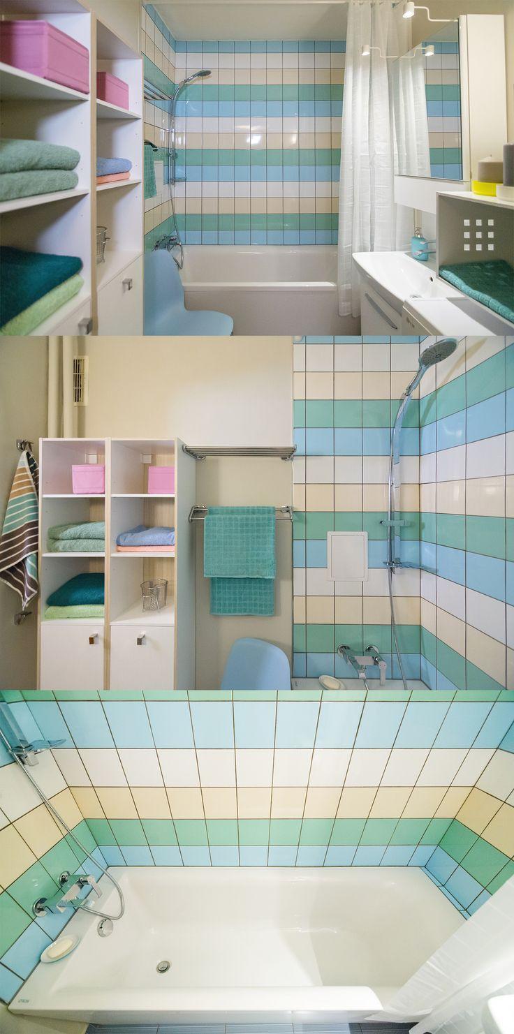 Pastelowa łazienka matki i córki, bezpiecznie łącząca stylistyczne potrzeby obu pokoleń.