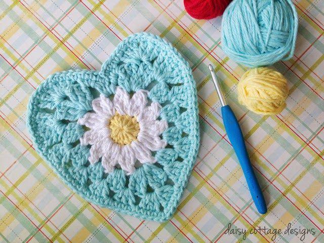 Bloem-Hartje Haken - Crochet Daisy Heart