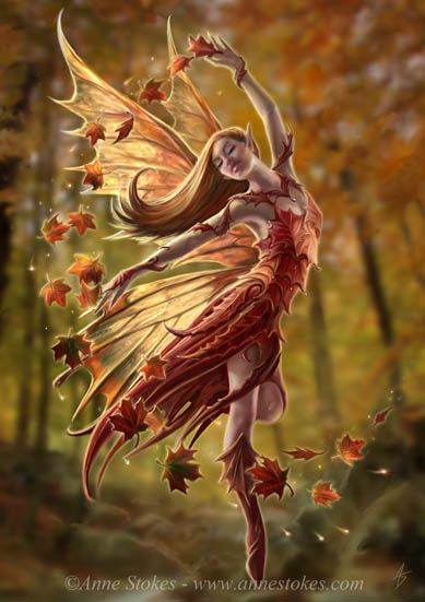 Autumn fairy by Anne Stokes (my favourite artist)                                                                                                                                                                                 More