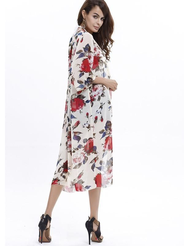 d798e776413 Elegant 3/4 Sleeve Beach Long Shawl Cover-up Tops | Products ...