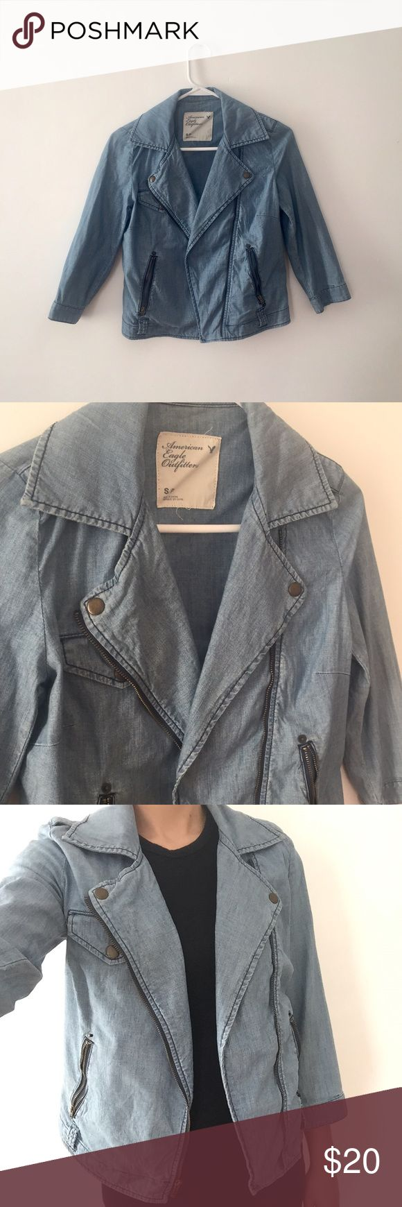 American Eagle Denim Jacket Great condition. Has snap buttons and zipper in front with pockets. American Eagle Outfitters Jackets & Coats Jean Jackets