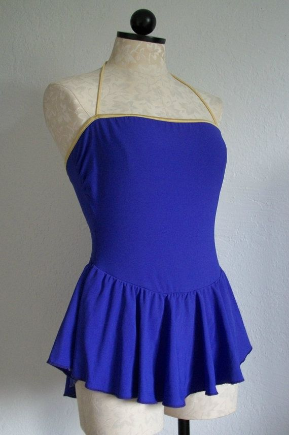 Sirena Vintage 80s Purple w/ Gold Trim One Piece Skirted Swimsuit, $30.00