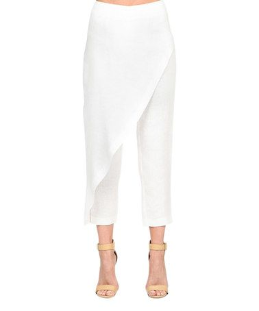 Loving this White Wrap Linen Crop Pants on #zulily! #zulilyfinds