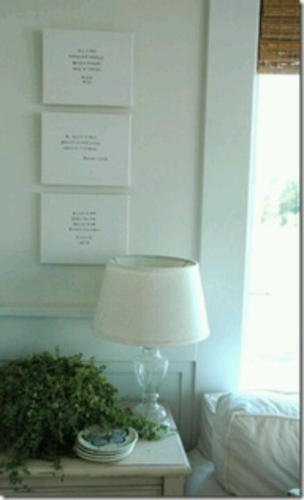 Crisp, clean looking decor with Scripture on the wall