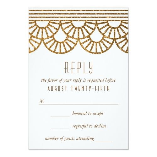 Formal Wedding Invitation RSVP Gold Art Deco Fan Wedding Invitation Reply Card