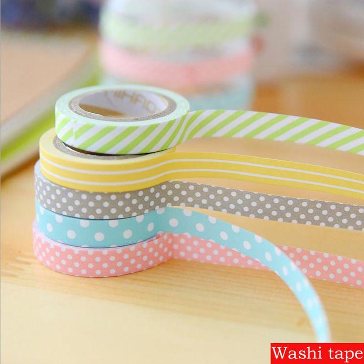 5 pcs masking 5m washi tape DIY album scrapbook Decoration sticky Stationery school supply paper office adhesive tape 02402
