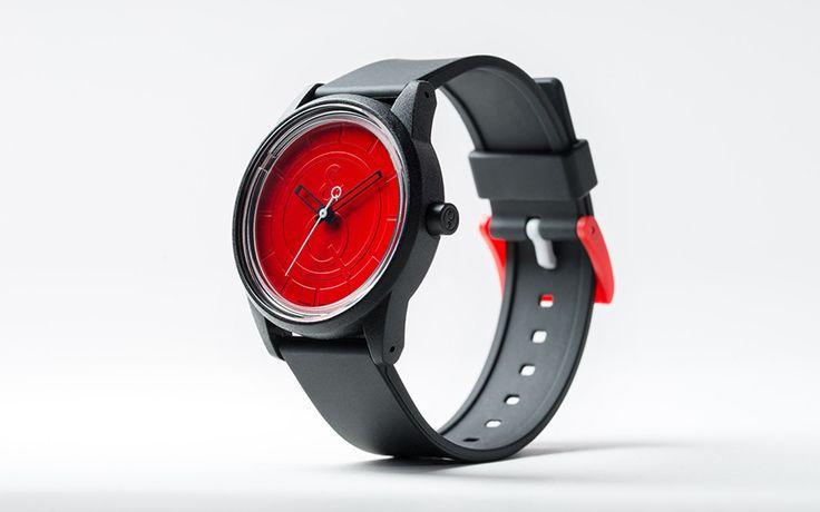 Q&Q SmileSolar Watch, RP00J003Y, Black, Red