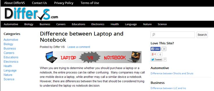 http://differvs.com/difference-laptop-notebook/ notebook vs laptop If you're looking for the difference between laptop and notebook, you're on the right place. Read our comparison about them before you decide to choose which one.