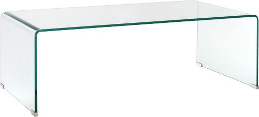 Gala table basse en verre trempé Très résistante, cette table basse en verre trempé demeurera durablement en parfait état. Ses pieds à la finition chromée apportent une touche raffinée à ce meuble épuré et discret, aux angles arrondis. Très peu encombrante mais fonctionnelle, cette gamme se décline en console et en petite table d'appoint. Dimensions : l.55 x H.35 x P.110 cm 250 €