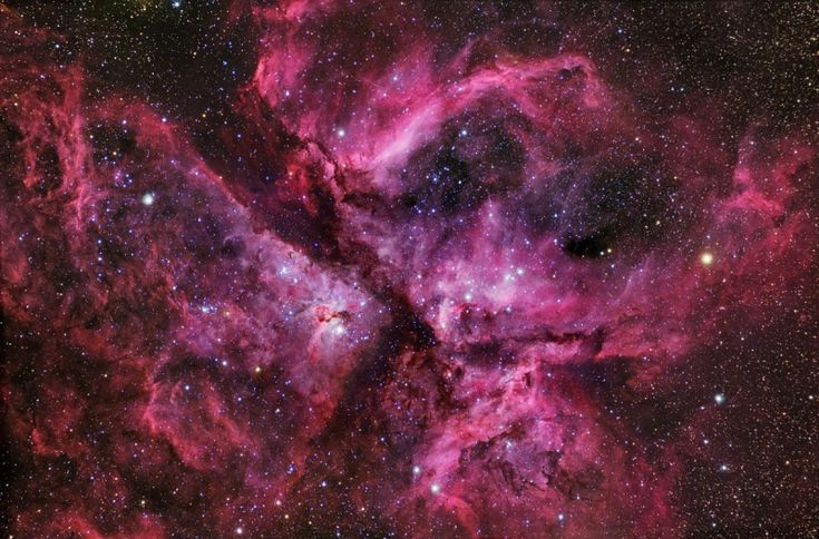 The Great Carina Nebula, aka NGC 3372, spans over 300 light-years, one of our galaxy's largest star forming regions. Like the smaller Orion Nebula, the Carina Nebula is easily visible to the naked eye, though at a distance of 7,500 light-years it is some 5 times farther away. The Carina Nebula is home to young, extremely massive stars, including Eta Carinae, a star with well over 100 times the mass of the Sun.