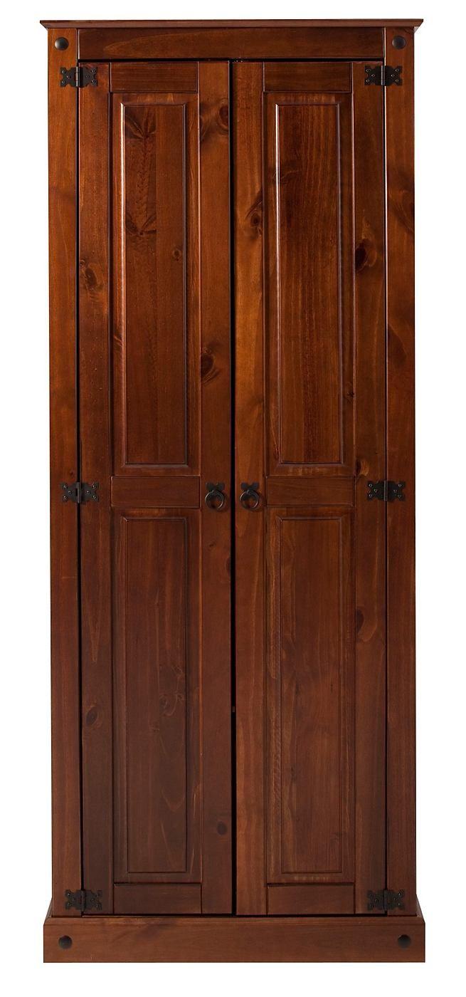 Gefertigt aus FSC®-zertifizierter, massiver Kiefer, wahlweise honigfarben gewachst, braun oder weiß lackiert (Äste und Holzstruktur sichtbar). Griffe aus antikfarbenem Metall.  In dem Dielenschrank können Sie Ihre Garderobe perfekt verstauen. Hinter den Türen befindet sich oben eine Kleiderstange. Unten ein Ablageboden.  Innenmaße (B/T/H): oben 60/38/127 cm, unten 60/38/40 cm. Außenmaße (B/T/H)...
