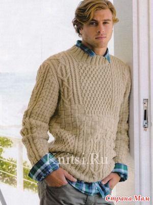 Вязание мужского пуловера с регланом 814