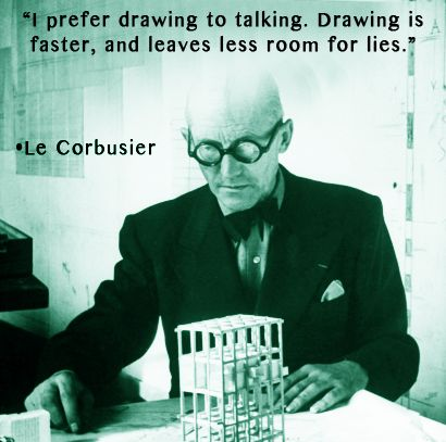 """""""I prefer drawing to talking. Drawing is faster, and leaves less room for lies."""" -Le Corbusier www.InteriorsBYMI.com  #Design #Visionary #Inspiration"""