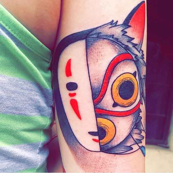 This cunning montage of No-Face and Princess Mononoke (masked). | 27 Beautiful Studio Ghibli Tattoos That Will Give You Feels