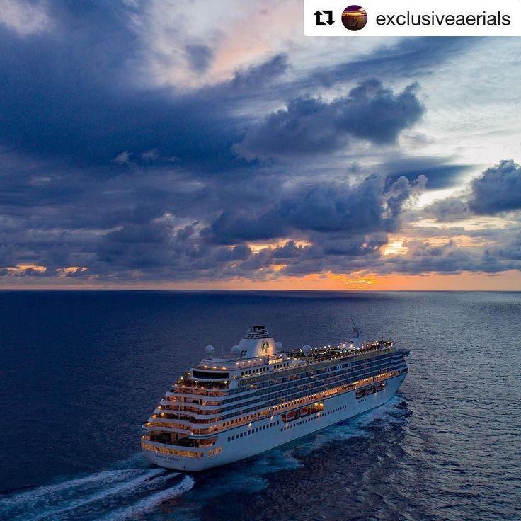Très belle photo du Crystal Serenity de @crystalcruises   Repost @exclusiveaerials  Cruising the coast of Brazil  en route to Fortaleza. Serenity sailing into the sunset  #croisière #vacances #voyage #seagnature #bateau