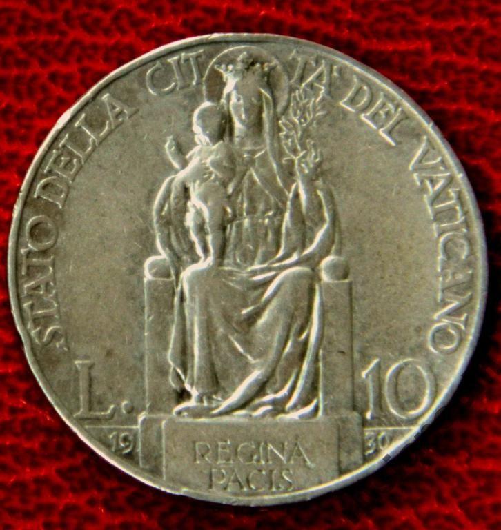 Ватикан 10 лир1930 Пий XI мадонна СЕРЕБРО с Рубля Vatican 10 lire