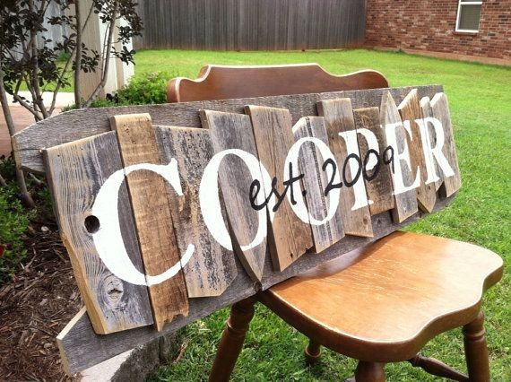 layered wooden diy painted COOPER family name sign on the chair for home decoration - date, holiday crafts