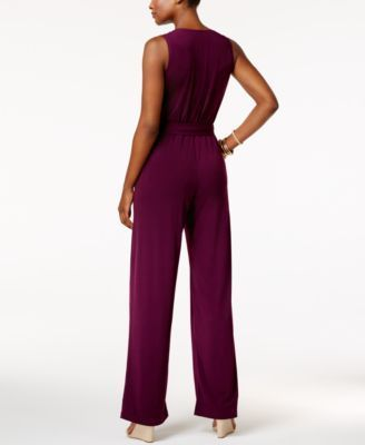 Ny Collection Petite Belted Surplice Jumpsuit - Purple P/XL