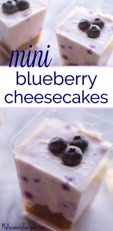 Yum! You will love this no bake dessert recipe,  Mini Blueberry Cheesecakes! This no bake blueberry cheesecake recipe is about as good as dessert gets. #nobake #nobakedessert #cheesecake #nobakeblueberrycheesecake