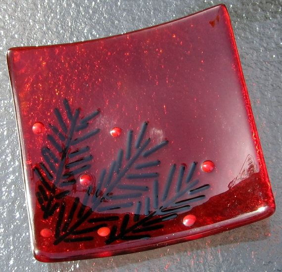 Christmas Fused Glass Soap Dish Christmas Glass in by Shakufdesign